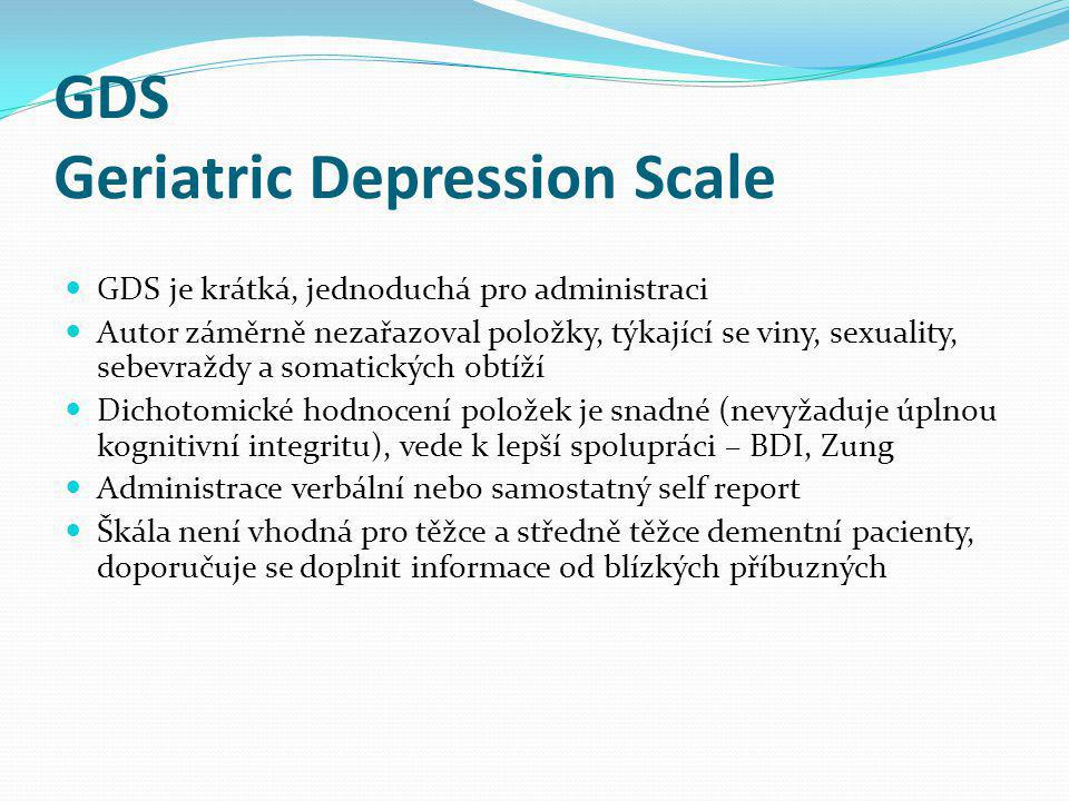 GDS Geriatric Depression Scale