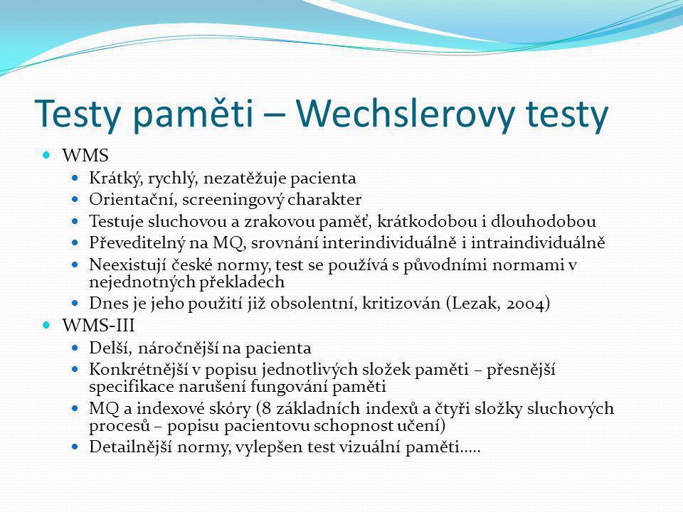 Testy paměti – Wechslerovy testy