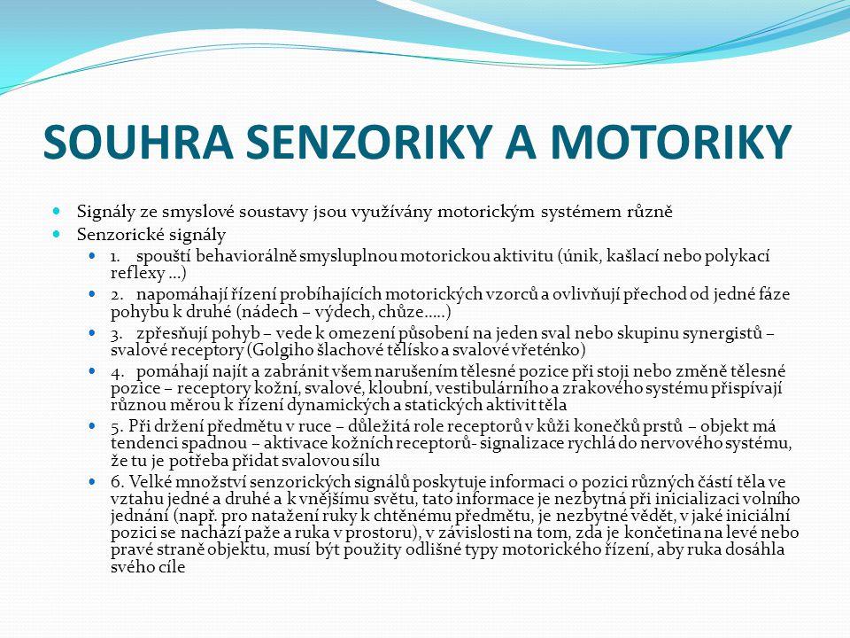 SOUHRA SENZORIKY A MOTORIKY