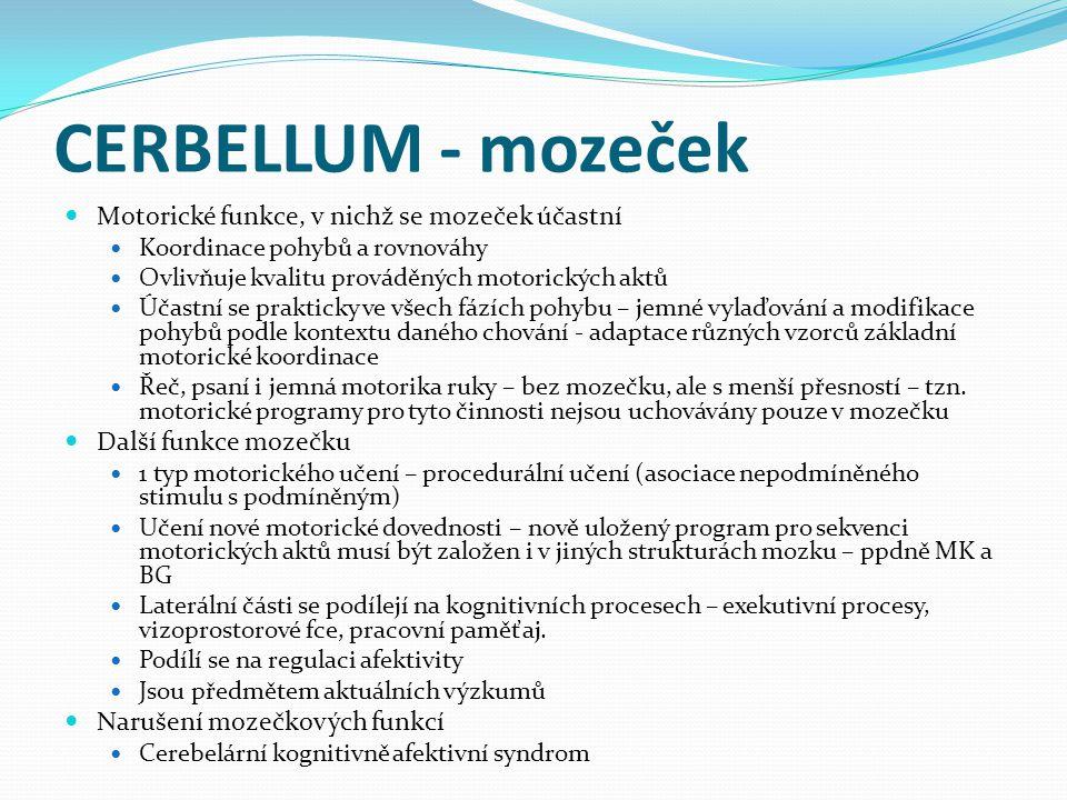 CERBELLUM - mozeček Motorické funkce, v nichž se mozeček účastní