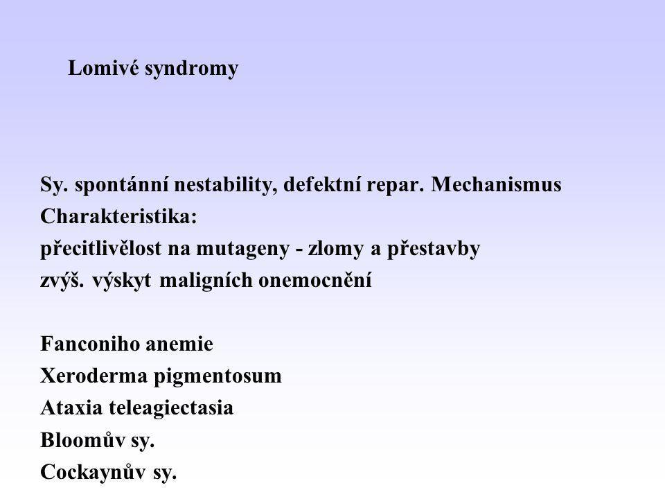 Lomivé syndromy Sy. spontánní nestability, defektní repar. Mechanismus. Charakteristika: přecitlivělost na mutageny - zlomy a přestavby.