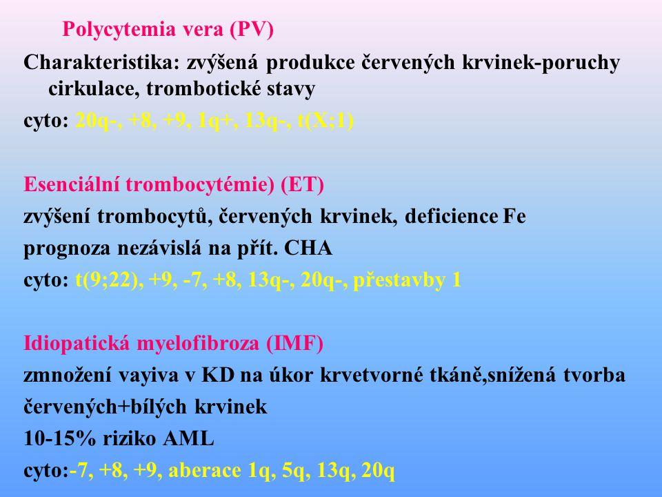 Polycytemia vera (PV) Charakteristika: zvýšená produkce červených krvinek-poruchy cirkulace, trombotické stavy.