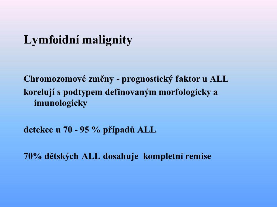 Lymfoidní malignity Chromozomové změny - prognostický faktor u ALL