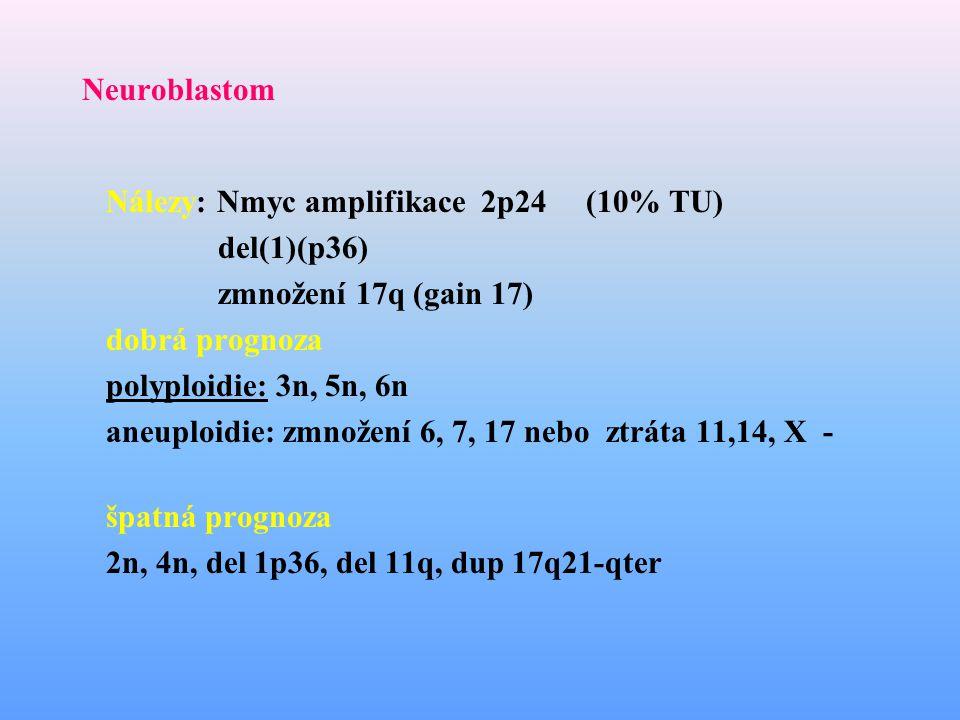 Neuroblastom Nálezy: Nmyc amplifikace 2p24 (10% TU) del(1)(p36) zmnožení 17q (gain 17) dobrá prognoza.