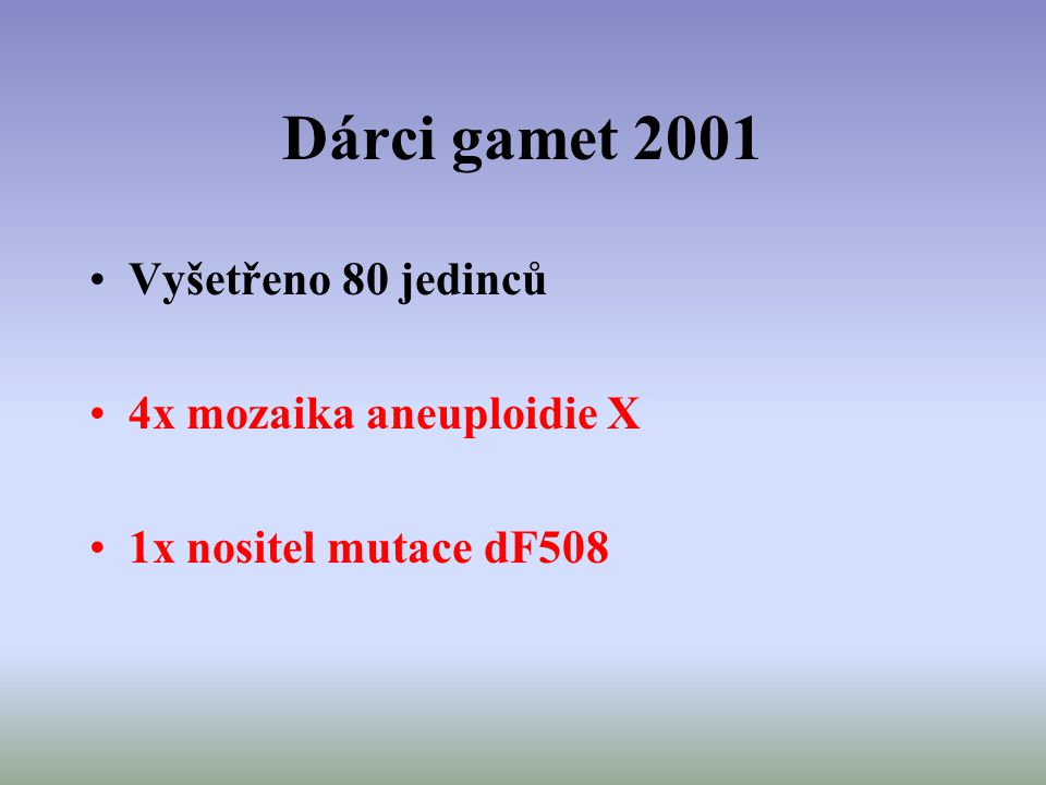 Dárci gamet 2001 Vyšetřeno 80 jedinců 4x mozaika aneuploidie X