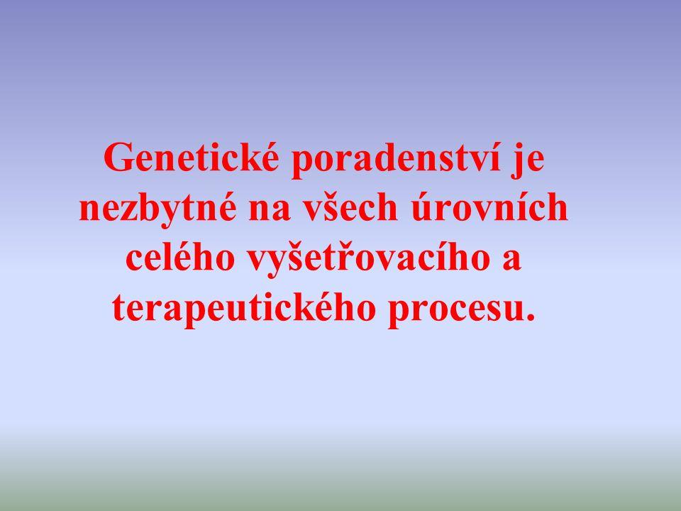 Genetické poradenství je nezbytné na všech úrovních celého vyšetřovacího a terapeutického procesu.