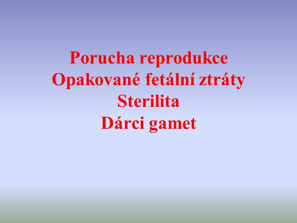 Porucha reprodukce Opakované fetální ztráty Sterilita Dárci gamet