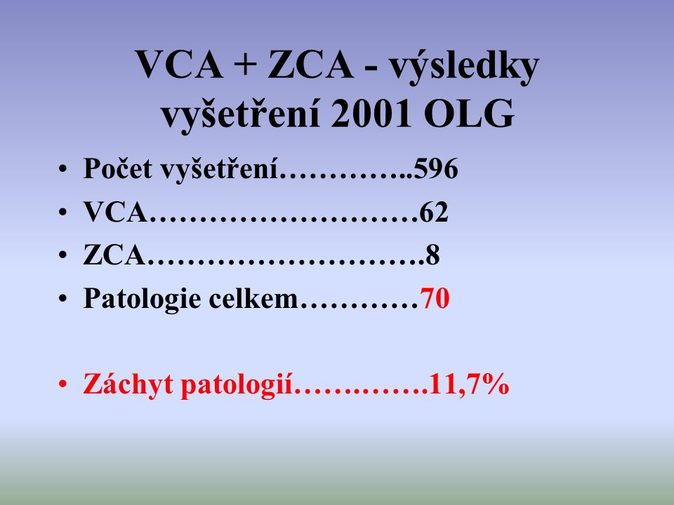VCA + ZCA - výsledky vyšetření 2001 OLG
