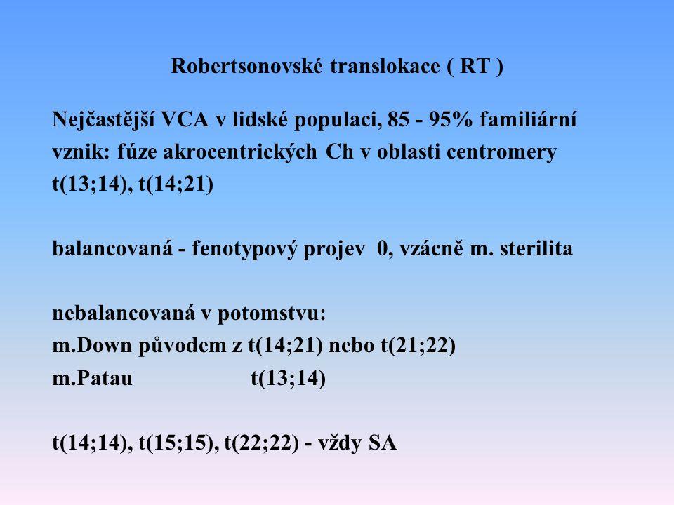 Robertsonovské translokace ( RT )