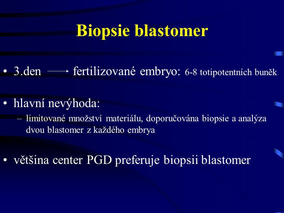 Biopsie blastomer 3.den fertilizované embryo: 6-8 totipotentních buněk
