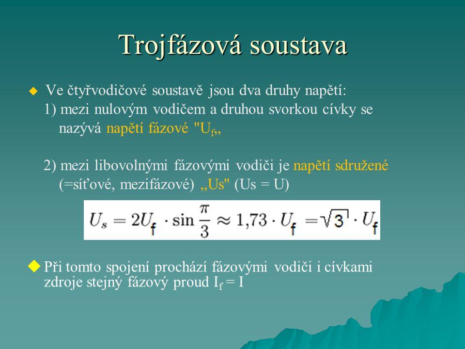 Trojfázová soustava Ve čtyřvodičové soustavě jsou dva druhy napětí: