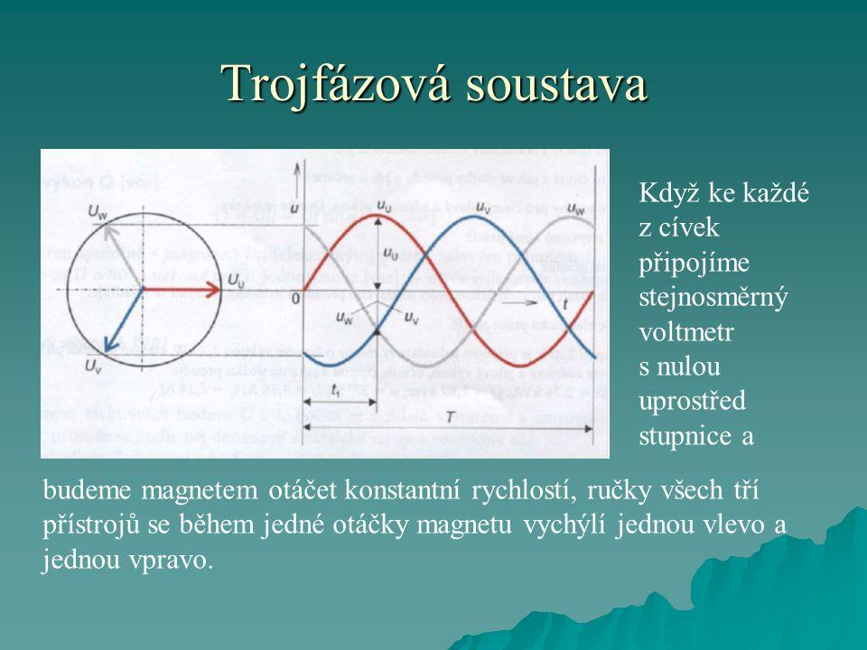 Trojfázová soustava Když ke každé z cívek připojíme stejnosměrný voltmetr s nulou uprostřed stupnice a.