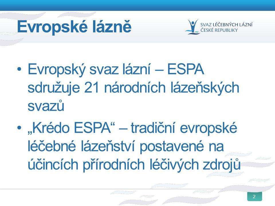 Evropské lázně Evropský svaz lázní – ESPA sdružuje 21 národních lázeňských svazů.