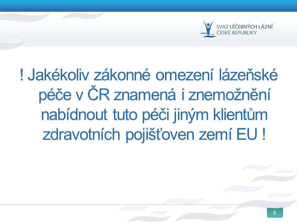! Jakékoliv zákonné omezení lázeňské péče v ČR znamená i znemožnění nabídnout tuto péči jiným klientům zdravotních pojišťoven zemí EU !