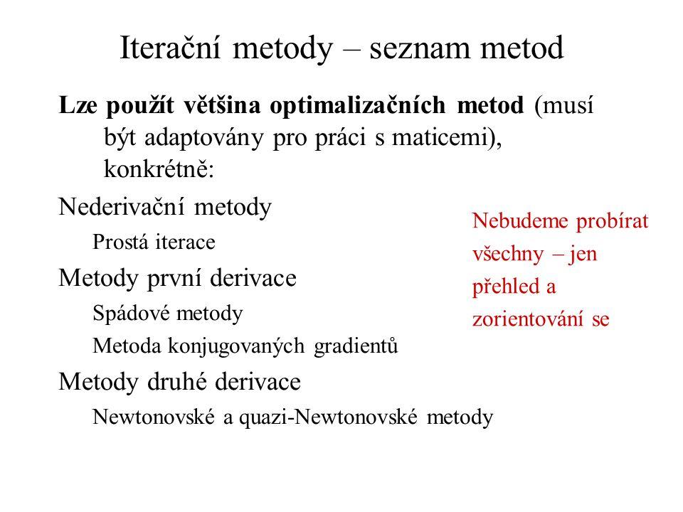 Iterační metody – seznam metod