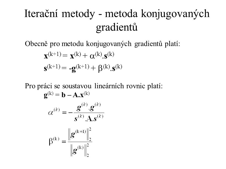Iterační metody - metoda konjugovaných gradientů