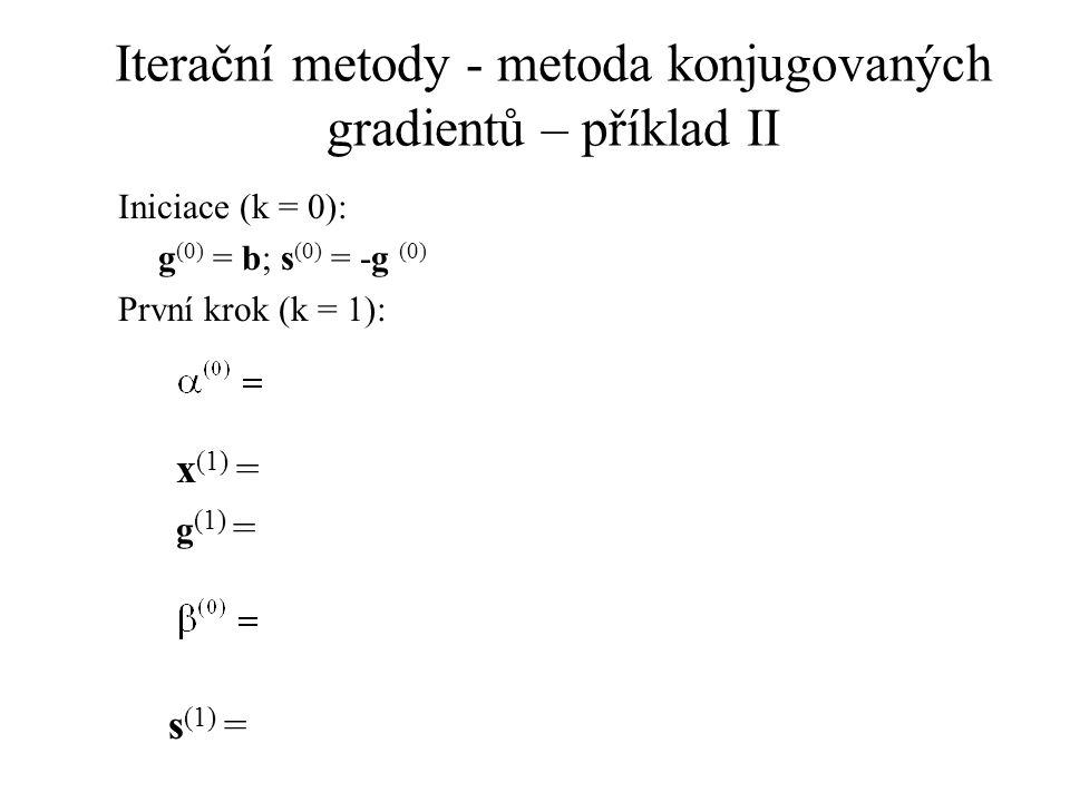 Iterační metody - metoda konjugovaných gradientů – příklad II