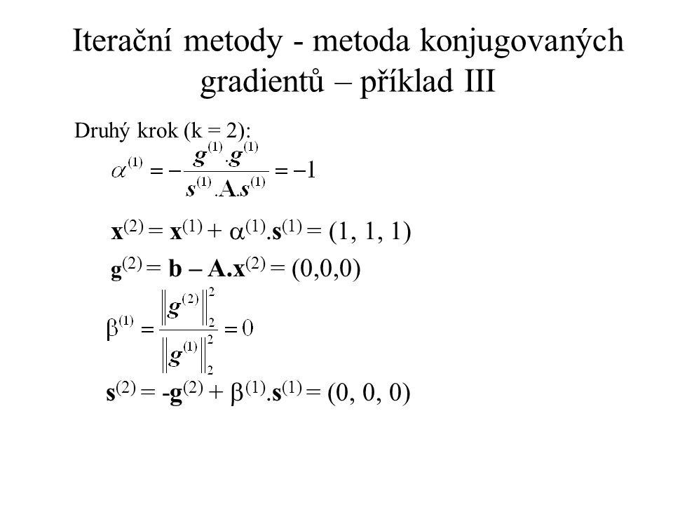 Iterační metody - metoda konjugovaných gradientů – příklad III