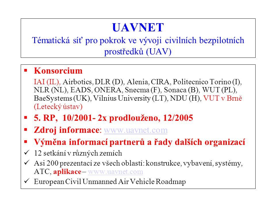 UAVNET Tématická síť pro pokrok ve vývoji civilních bezpilotních prostředků (UAV)