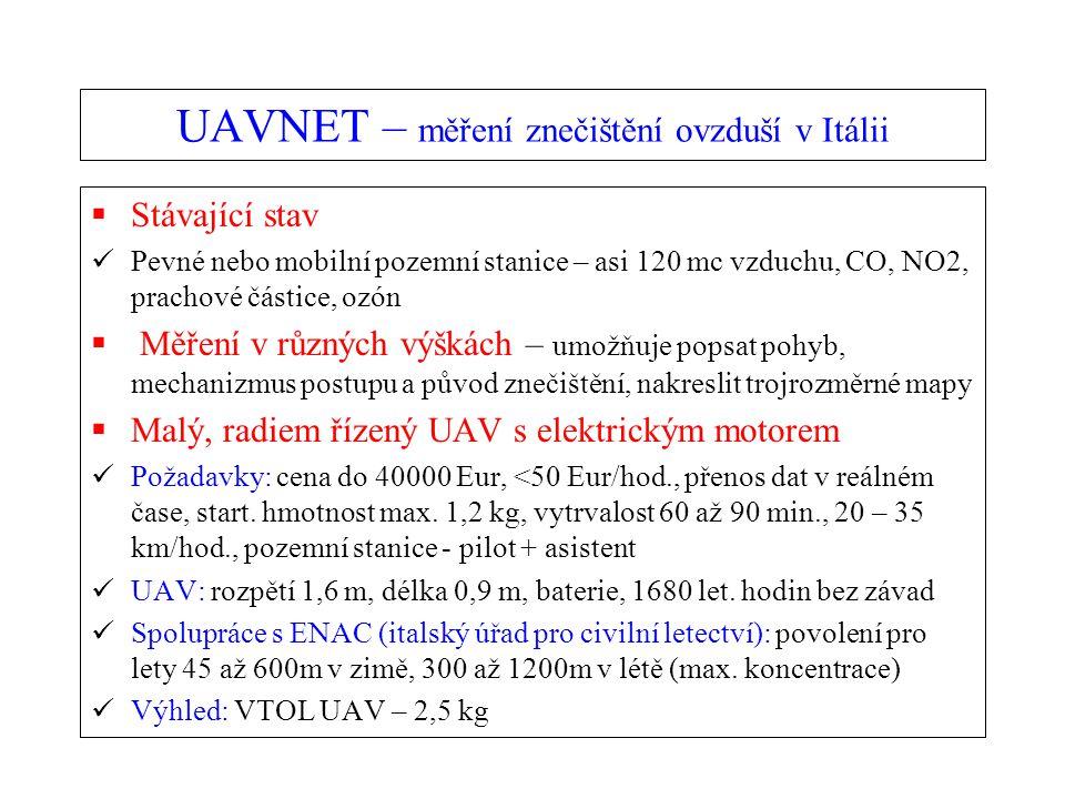 UAVNET – měření znečištění ovzduší v Itálii