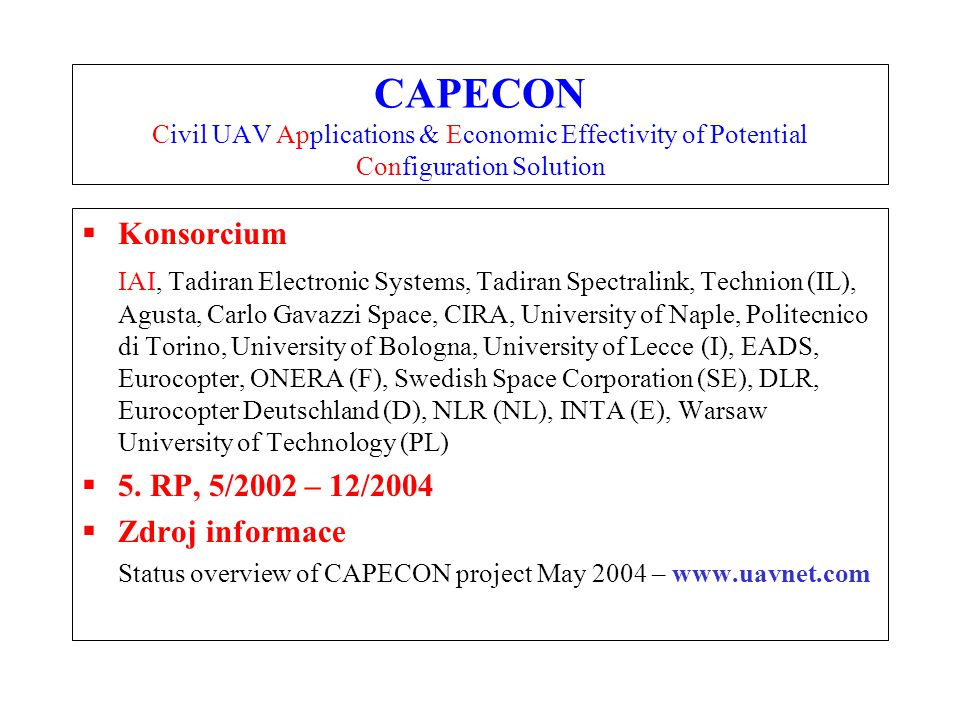CAPECON Civil UAV Applications & Economic Effectivity of Potential Configuration Solution