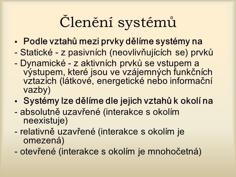 Členění systémů Podle vztahů mezi prvky dělíme systémy na