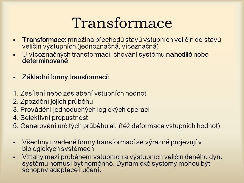Transformace Transformace: množina přechodů stavů vstupních veličin do stavů veličin výstupních (jednoznačná, víceznačná)