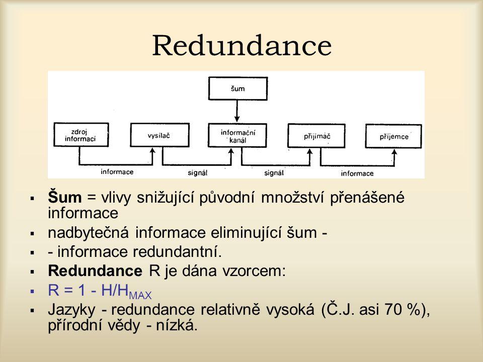 Redundance Šum = vlivy snižující původní množství přenášené informace