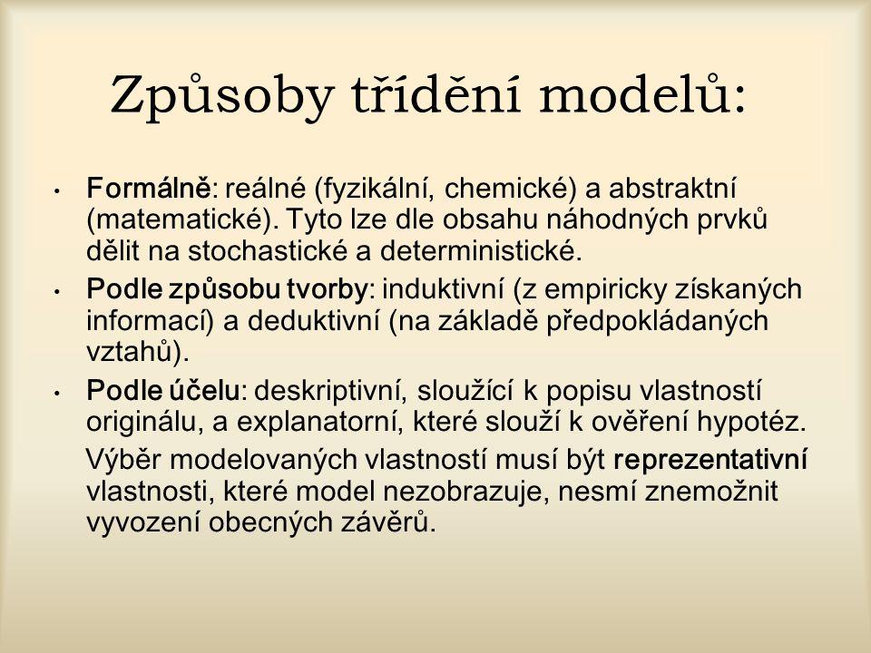 Způsoby třídění modelů: