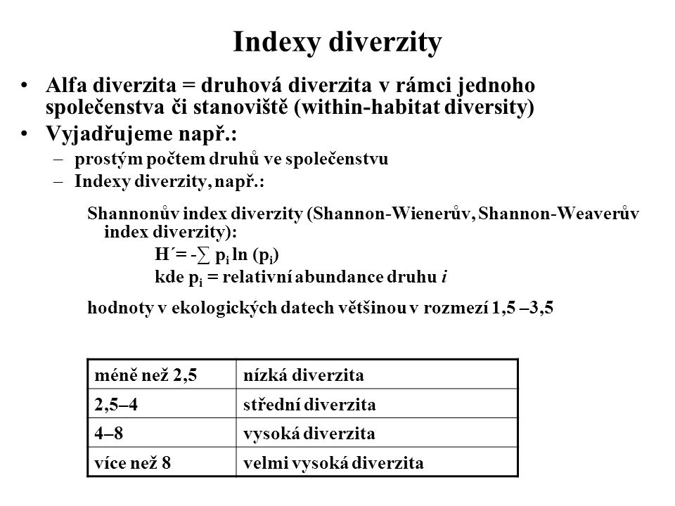 Indexy diverzity Alfa diverzita = druhová diverzita v rámci jednoho společenstva či stanoviště (within-habitat diversity)