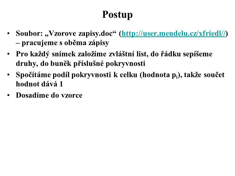 "Postup Soubor: ""Vzorove zapisy.doc (http://user.mendelu.cz/xfriedl//) – pracujeme s oběma zápisy."
