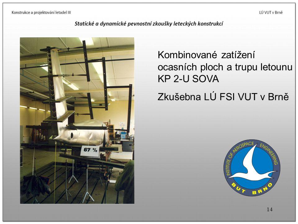 Kombinované zatížení ocasních ploch a trupu letounu KP 2-U SOVA