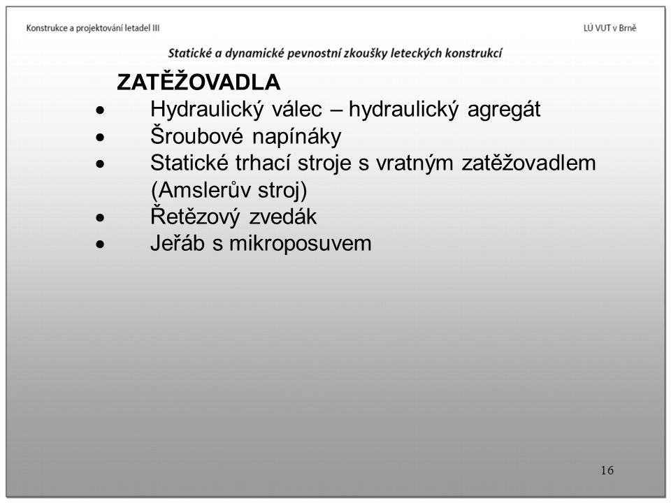 · Hydraulický válec – hydraulický agregát · Šroubové napínáky