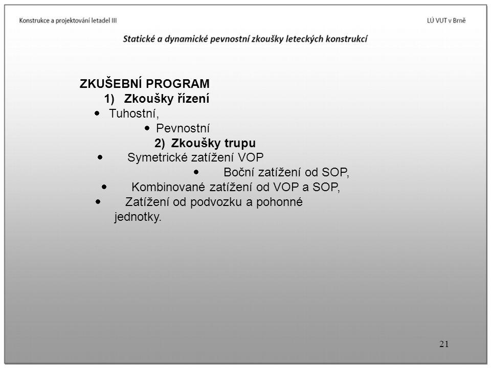 ZKUŠEBNÍ PROGRAM 1) Zkoušky řízení · Tuhostní, · Pevnostní