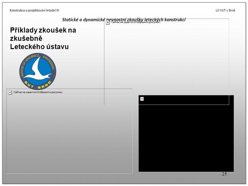 Příklady zkoušek na zkušebně Leteckého ústavu