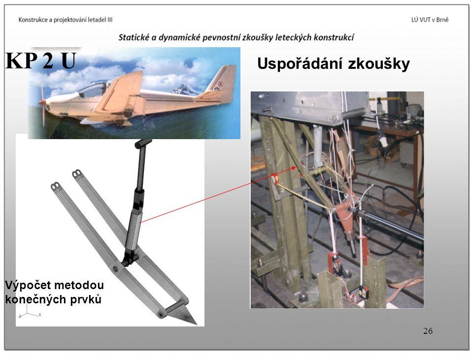 KP 2 U Uspořádání zkoušky Výpočet metodou konečných prvků