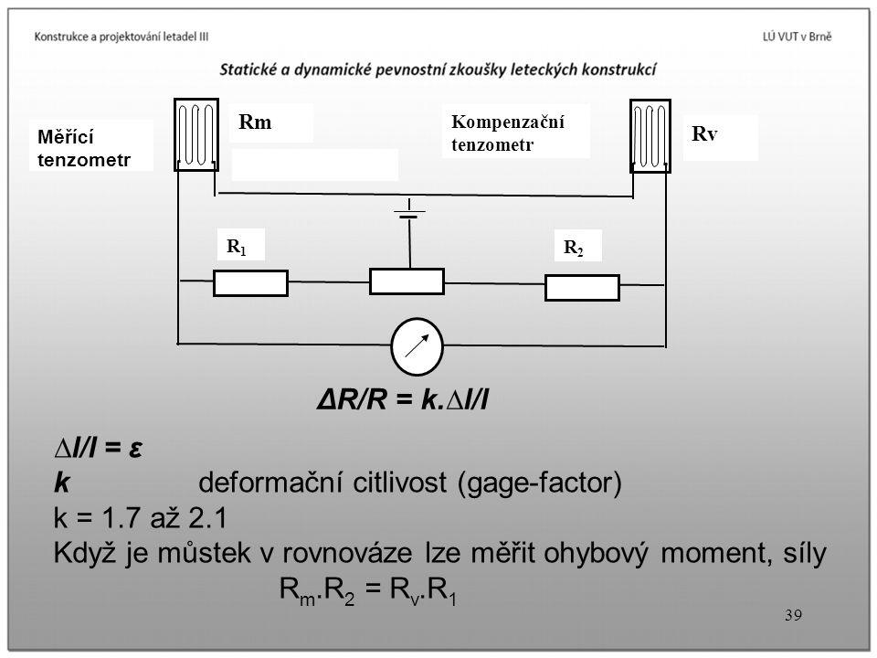 k deformační citlivost (gage-factor) k = 1.7 až 2.1