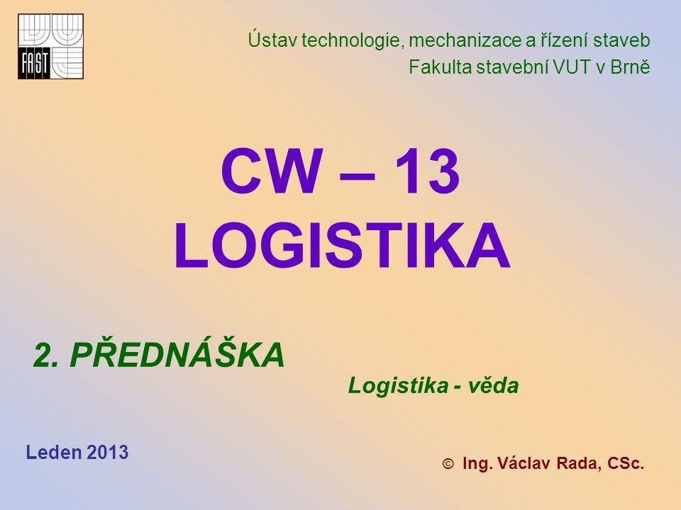 CW – 13 LOGISTIKA 2. PŘEDNÁŠKA Logistika - věda