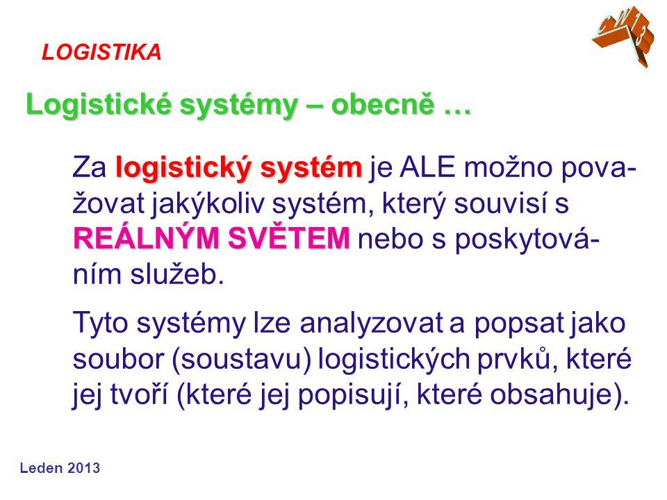 Logistické systémy – obecně …