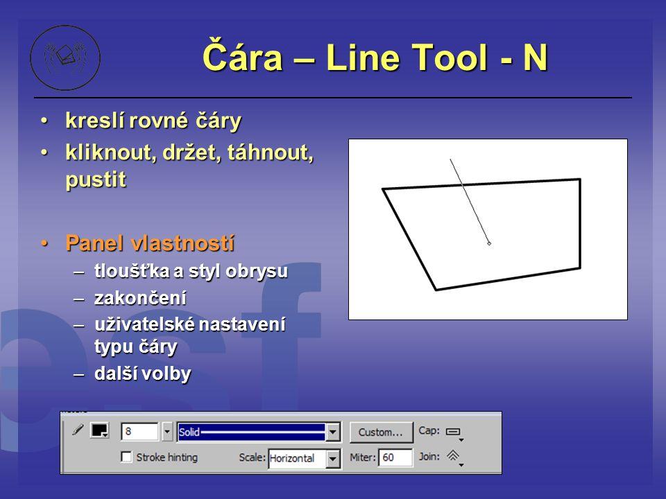 Čára – Line Tool - N kreslí rovné čáry