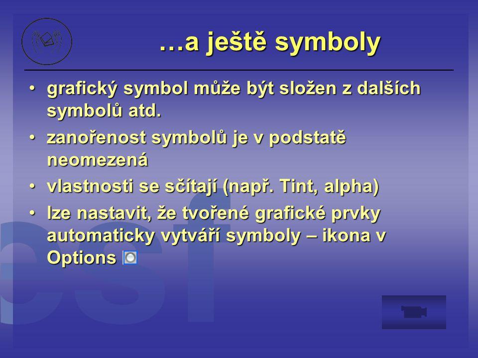 …a ještě symboly grafický symbol může být složen z dalších symbolů atd. zanořenost symbolů je v podstatě neomezená.