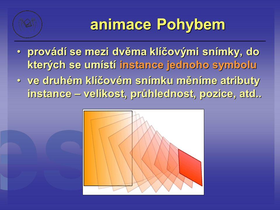 animace Pohybem provádí se mezi dvěma klíčovými snímky, do kterých se umístí instance jednoho symbolu.
