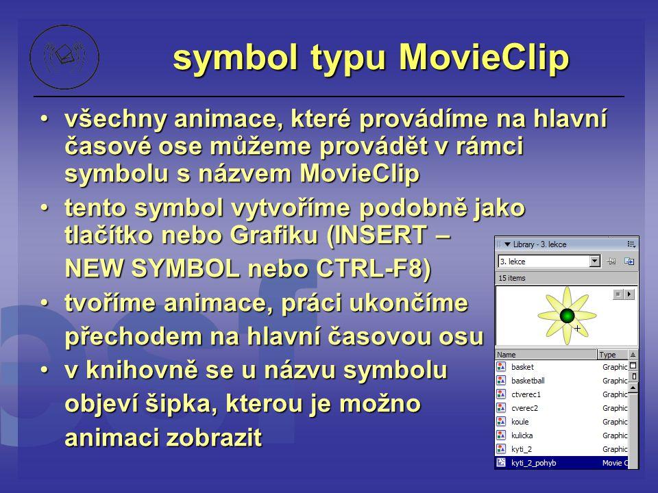 symbol typu MovieClip všechny animace, které provádíme na hlavní časové ose můžeme provádět v rámci symbolu s názvem MovieClip.