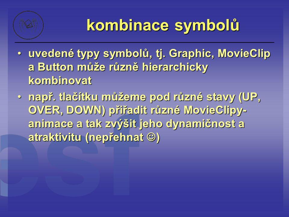 kombinace symbolů uvedené typy symbolů, tj. Graphic, MovieClip a Button může různě hierarchicky kombinovat.