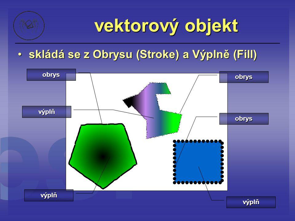 vektorový objekt skládá se z Obrysu (Stroke) a Výplně (Fill) obrys