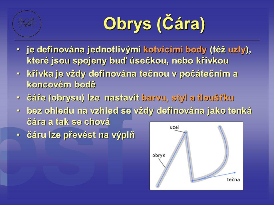 Obrys (Čára) je definována jednotlivými kotvícími body (též uzly), které jsou spojeny buď úsečkou, nebo křivkou.