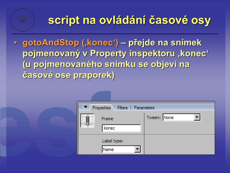 script na ovládání časové osy