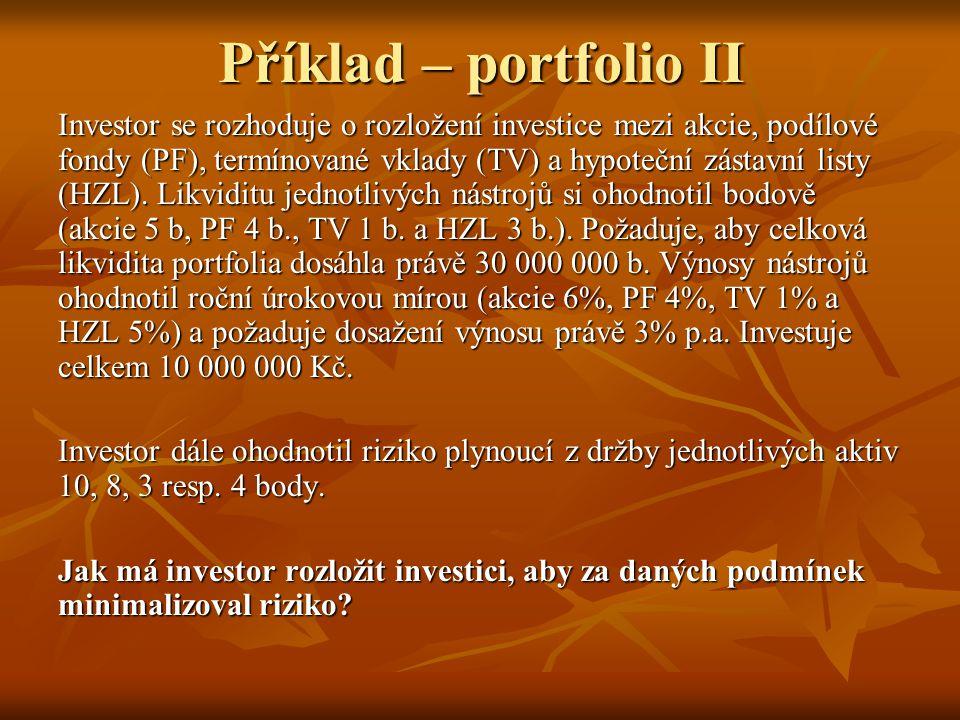 Příklad – portfolio II