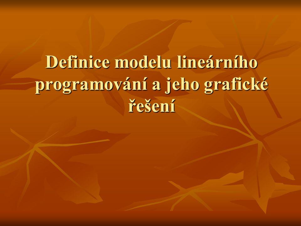 Definice modelu lineárního programování a jeho grafické řešení