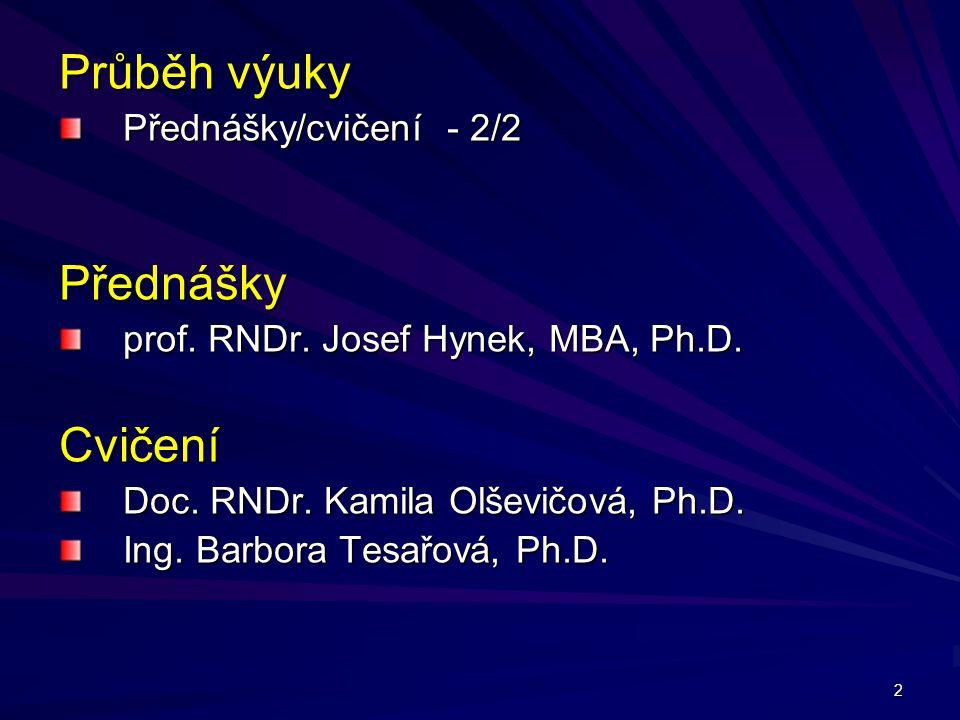 Průběh výuky Přednášky Cvičení Přednášky/cvičení - 2/2